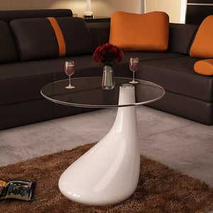 Coffee Table with Round Glass Top High Gloss White