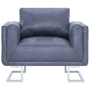 Cube Armchair Gray Faux Suede Leather