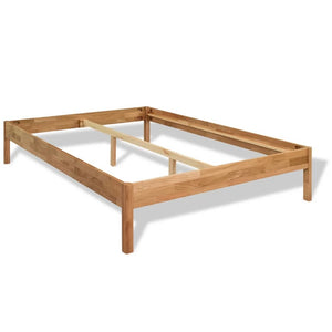 "Bed Frame Solid Oak Wood 59.8""x79.9"""