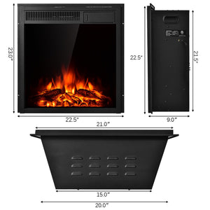"22.5"" Electric Fireplace Insert Freestanding and Recessed Heater"