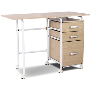 Folding Computer Laptop Desk Wheeled Home Office Furniture