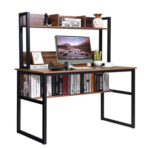 Storage Writing Desk Computer Desk with Hutch & Bookshelf