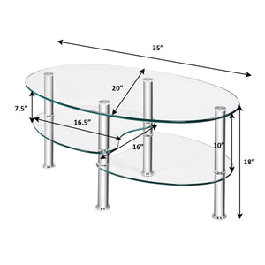 Tempered Glass Oval Side Coffee Table