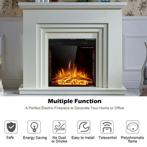 26 inch Fireless and Wall Mounted Electric Fireplace with Remote Control