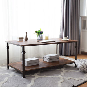 2 Tier Living Room Accent End Coffee Table with Storage Shelf