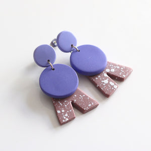 Alpha Combi Dangles in Lavender & Dusty Pink Speck