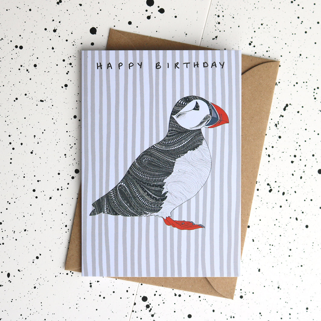 Puffin Happy Birthday Card