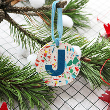 Load image into Gallery viewer, Personalised Christmas Decoration - Signature Base & Blue Letter