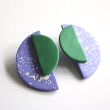 Load image into Gallery viewer, Jumbo Half Moon Studs in Lilac Speck & Pine Green