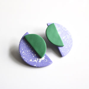 Jumbo Half Moon Studs in Lilac Speck & Pine Green
