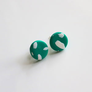 Mini Stud in Emerald Paintstroke