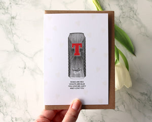 "Tennents ""You love Big Juicy Poem"" Valentines Day Card"