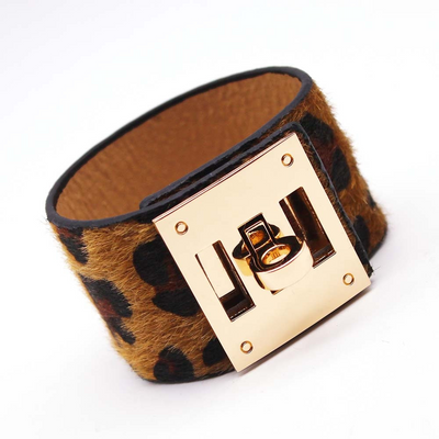 Brown Leopard Charm Leather Bracelets, Wide Cuff Femme