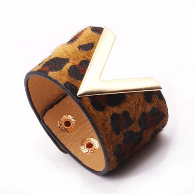 Brown Leopard V - Charm Leather Bracelet, Wide Cuff  Femme