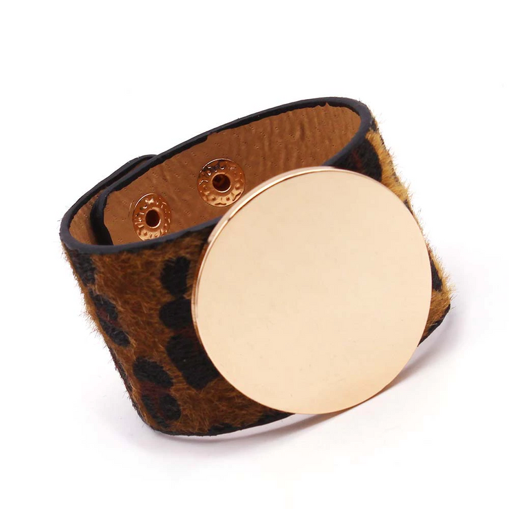 Brown Leopard Round - Charm Leather Bracelet, Wide Cuff Femme