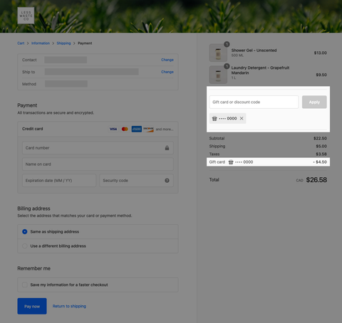 Greyed out checkout page with two highlight boxes over the gift card field and apply button that allows you to add multiple gift cards at once. There is already one gift card applied that is visible. The second highlight box is over the deducted gift card amount after subtotal, shipping, and taxes.