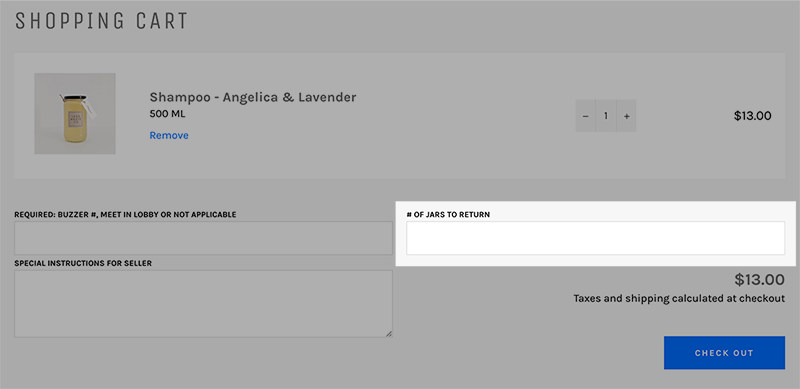 Screenshot of checkout page with greyed out background. The jar credit entry box is highlighted on the right side of the page.