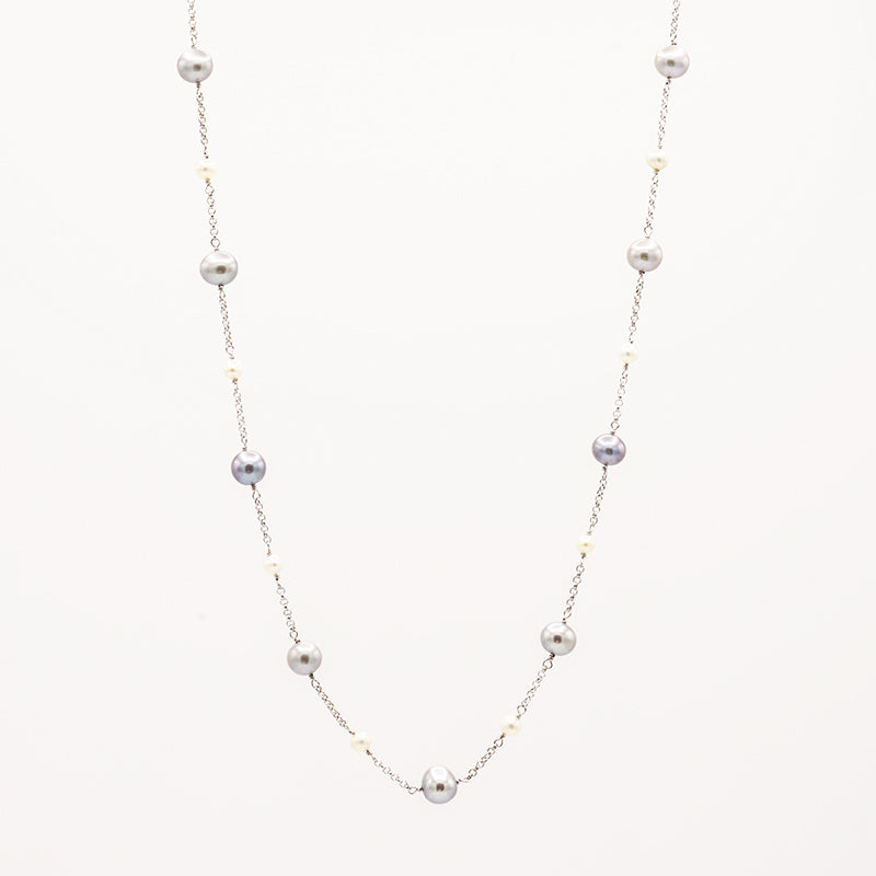 Freshwater Pearl with sterling silver chain necklace CS0005