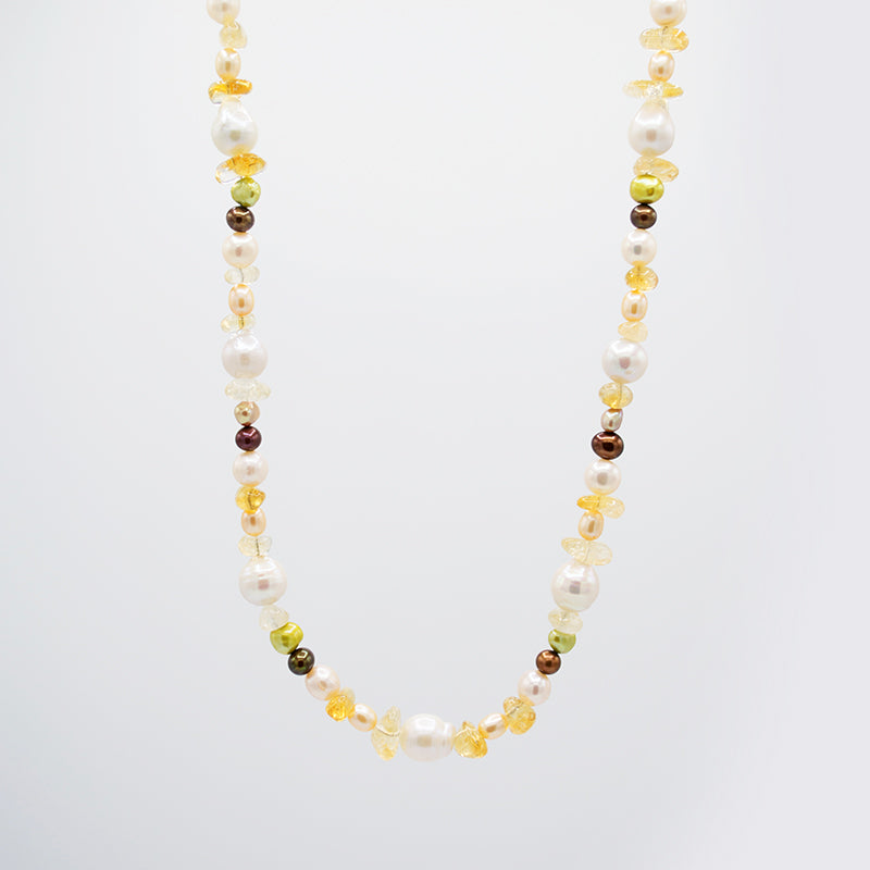 Citrine & Freshwater Pearl Necklace CE3006