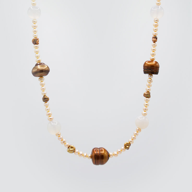 Natural Gemstone & Freshwater Pearl necklace CE3002