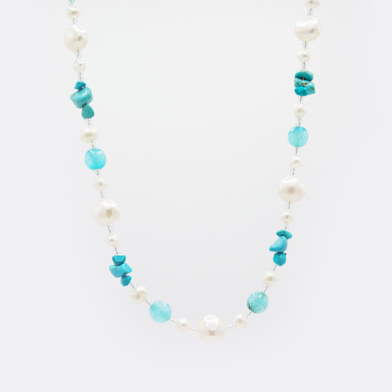 Freshwater Pearl & Natural Gemstones Necklace CE3005