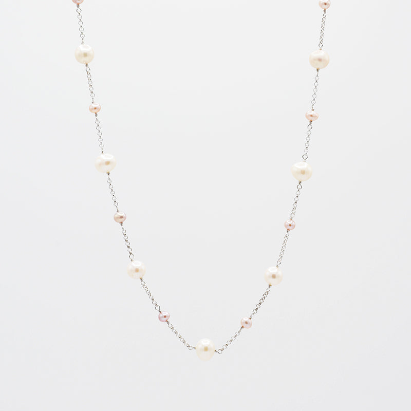 Freshwater Pearl with sterling silver chain necklace CS0006