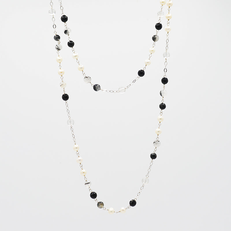 Freshwater Pearl with sterling silver chain necklace CS0012