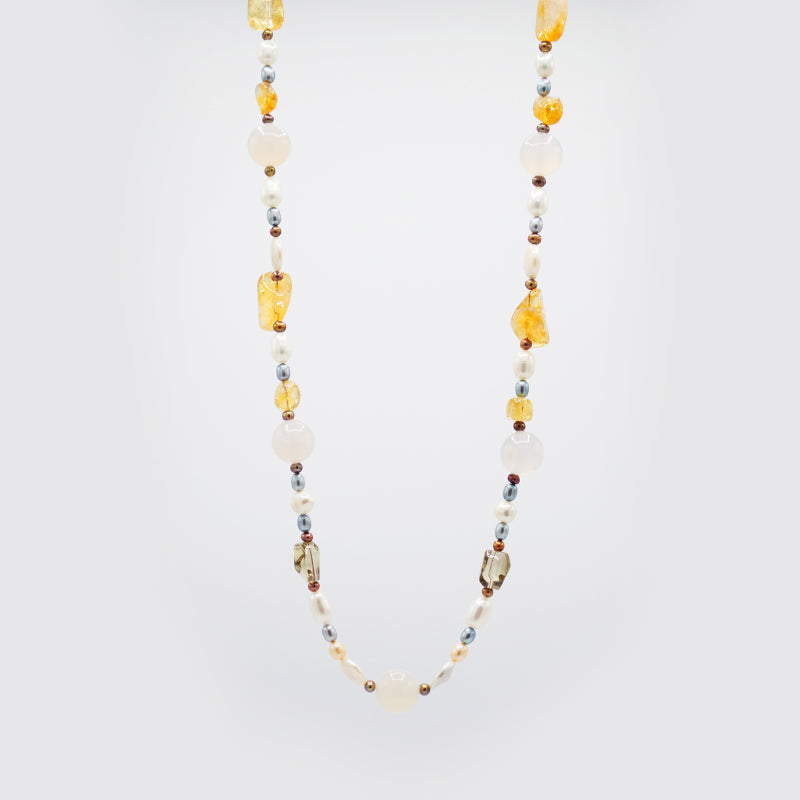 Natural Gemstones & Freshwater Pearl Necklace CE3010