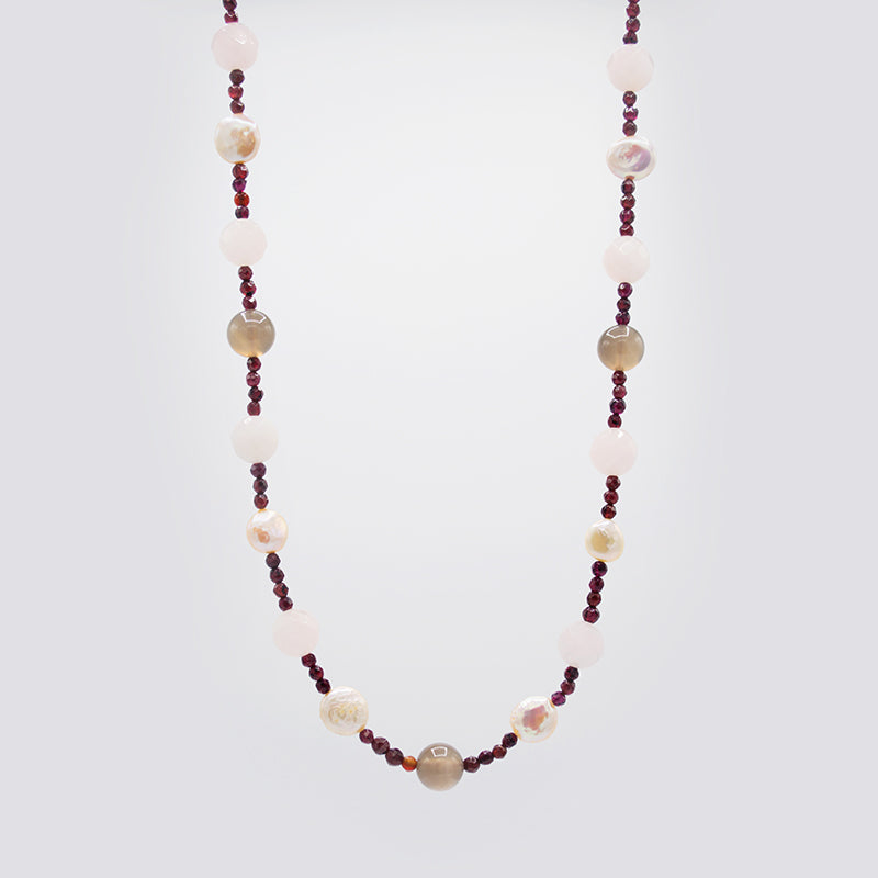 Natural Gemstones & Freshwater Pearl Necklace CE3008