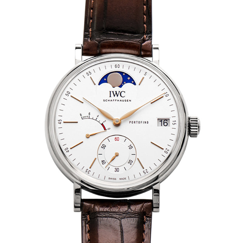 IWC Portofino Hand-Wound Moon Phase Manual-winding Silver Dial Men's Watch