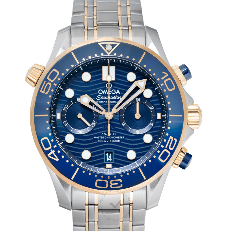 Omega Seamaster Diver 300 M Co-Axial Master Chronometer Chronograph 44 mm Automatic Blue Dial Yellow Gold Men's Watch