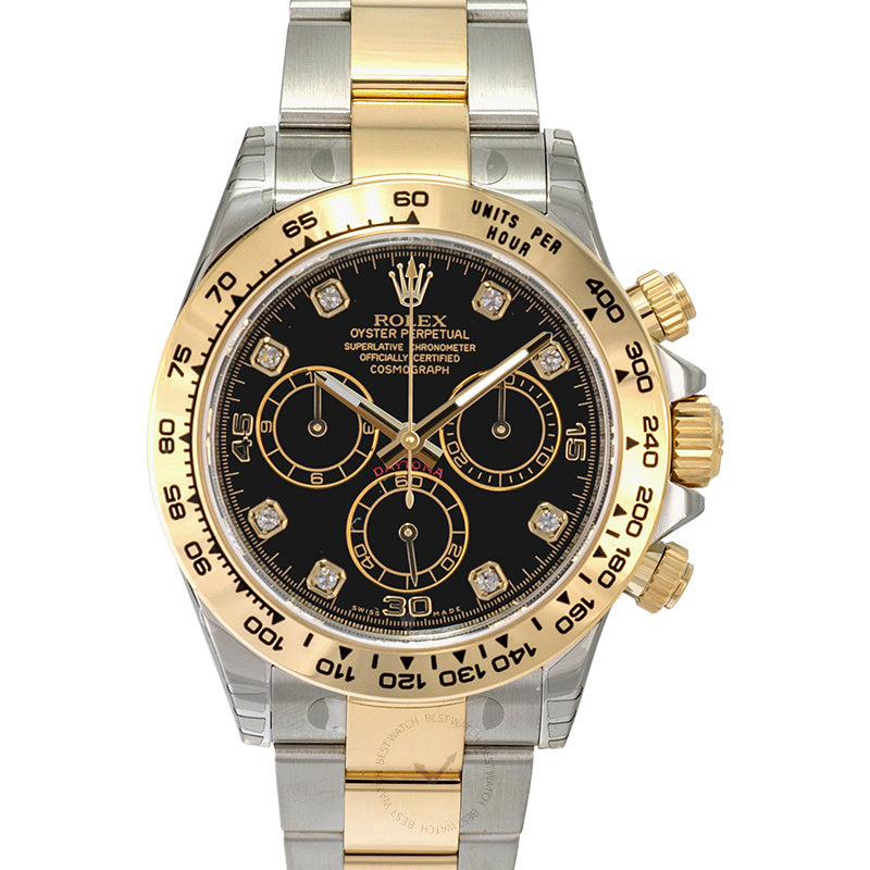 Rolex Cosmograph Daytona Black Dial Diamond Indexes Yellow Gold Men's Watch