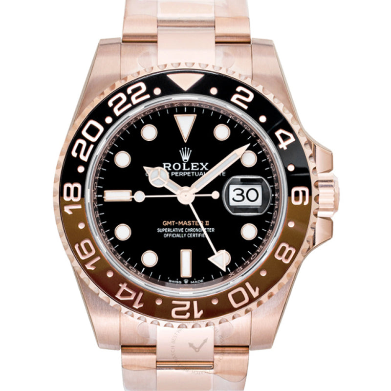 Rolex GMT Master II Black & Brown Bezel Everose Gold Automatic Black Dial Men's Watch