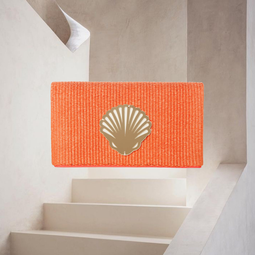 Amara | Orange Raffia Clutch