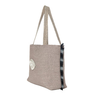 Chloe | Grey Raffia Tote Bag