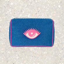 Load image into Gallery viewer, Olivia | Blue Raffia Eye Pouch