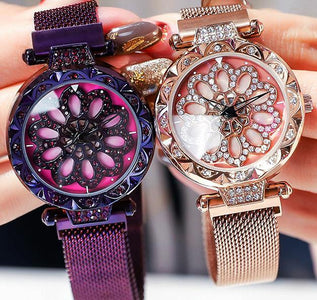 Women Watch  Dial Crystal Diamond-encrusted Steel Mesh Quartz Women Watches Magnet Buckle  Girl Clock