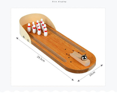 Image of Wooden Mini Bowling Tabletop Game Leisure Decompression toys
