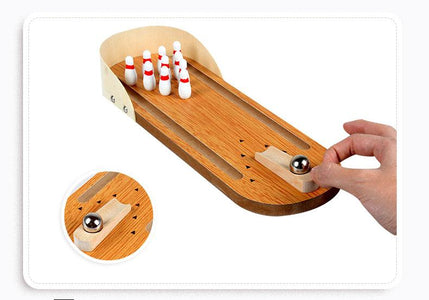 Wooden Mini Bowling Tabletop Game Leisure Decompression toys
