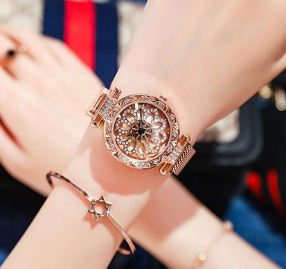 Image of Women Watch  Dial Crystal Diamond-encrusted Steel Mesh Quartz Women Watches Magnet Buckle  Girl Clock