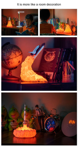 Image of Rocket Lamp In Night Light | For Space Lovers