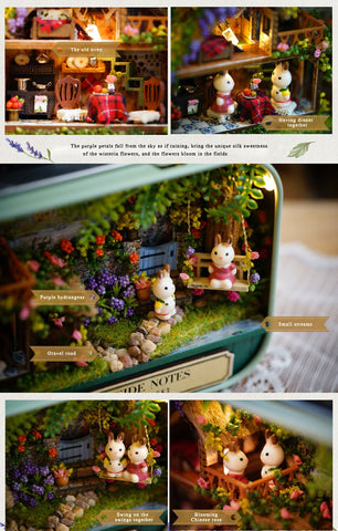 Image of Mini DIY Doll House Kit Toys for Children Box Theater Assembled Model Dollhouse Kids Girls Birthday Gift Led Light Sweet Home