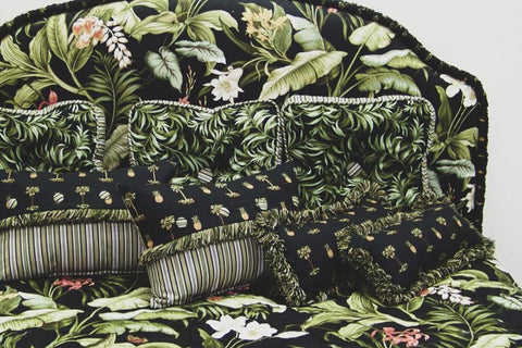 Custom bedding with biophilic design and palm tropical theme