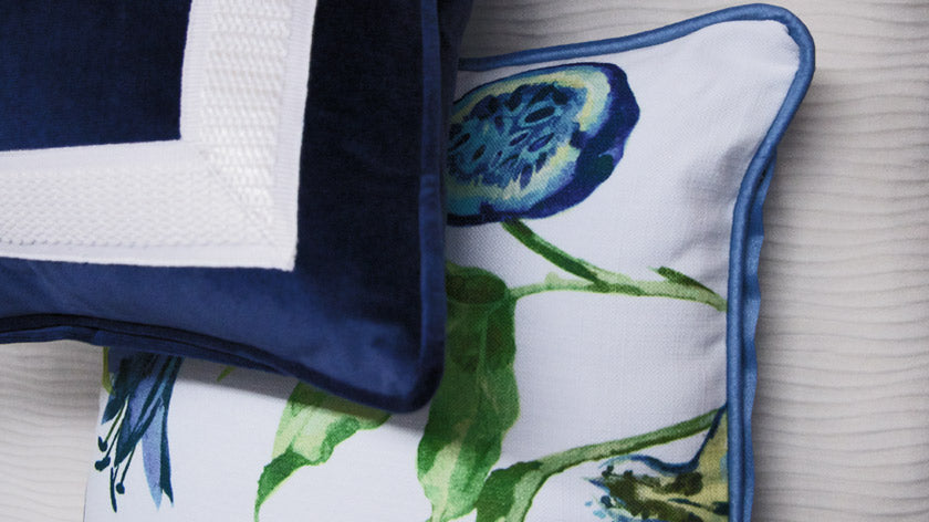 Home decor with custom velvet and floral pillows with trim