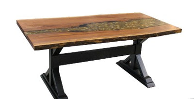 Live Edge Walnut Epoxy & Riverstone Dining Table with Double X Base