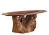 Live Edge Walnut Oval Coffee Table with Redwood Stump Base
