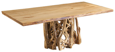 Live Edge Wormy Maple Bookmatch Dining Table with Fir Stump