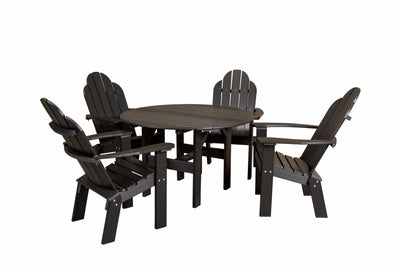 Classic 46in Round Table w/ 4 Dining Deck Chairs