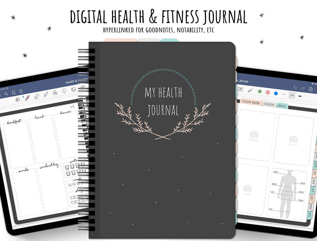 Digital Diet & Fitness Goodnotes Planner Journal | Body Measurements Tracker, Weight Loss tracker | Workout Log - Digital Diet & Fitness Planner