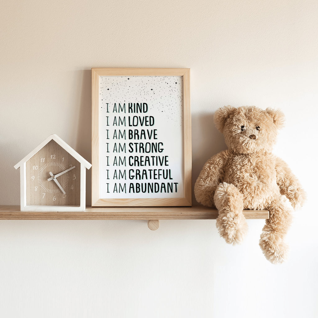 Affirmations Quote Wall Art Print, I Am Kind, Inspirational Art, Affirmations Poster, Affirmations Sign, Motivational print,Positivity Quote - I Am Affirmations